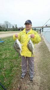 河川敷のぶっこみ釣り。キビレ8匹!
