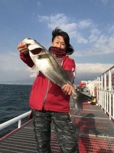 【尼崎魚釣り公園】西風強風の中、スズキ登場!!